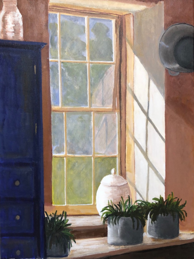 Farmhouse at LBJ Park - artwork by Mozelle Marks: farmhouse, windowview, LBJpark, sunlight Architecture, Impressionism, Acrylic, Canvas