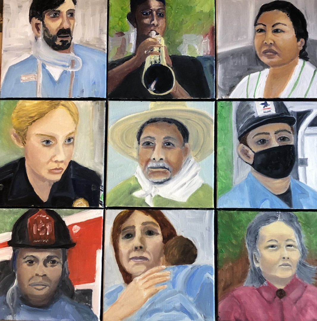 WeThePeople - artwork by Mozelle Marks: wethepeople, essentialworkers, firstresponders, policewoman, firefighter, oil painting, postman, childcare Figures, Impressionism, Oil, Canvas
