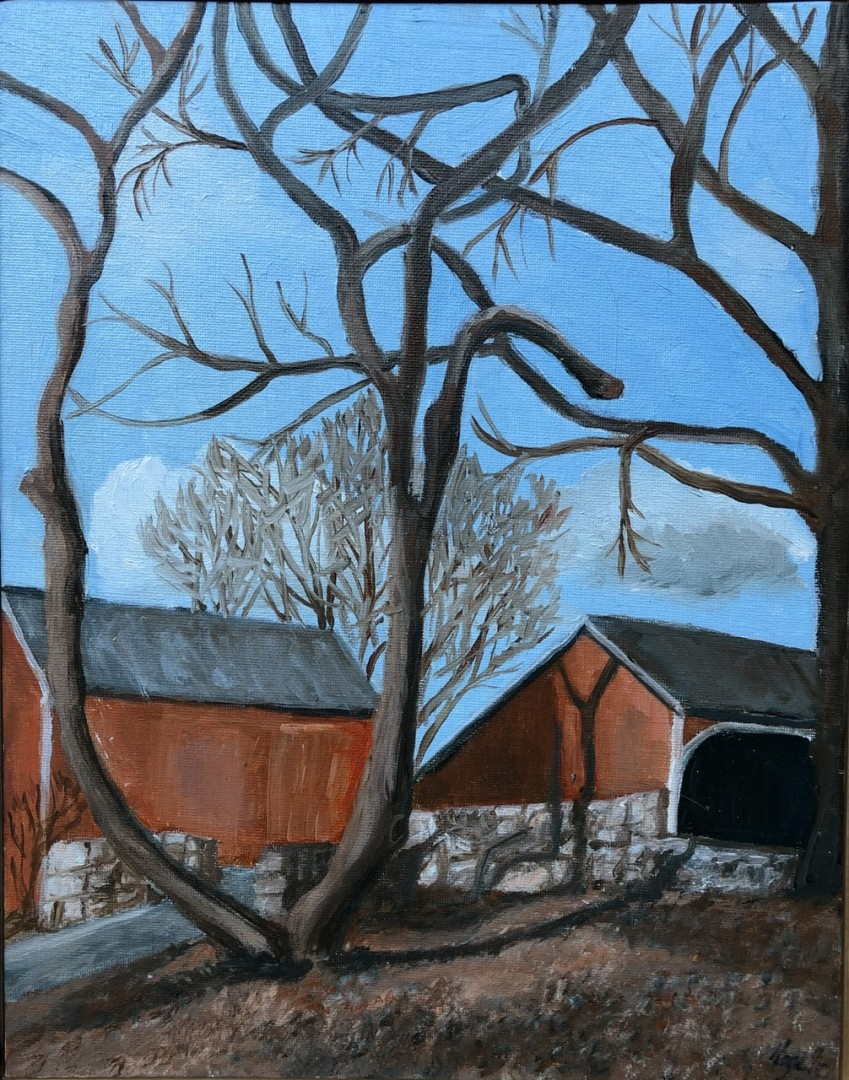 Barns at Weir Farm - artwork by Mozelle Marks: oilpainting, barns, winter, newengland, countryscene