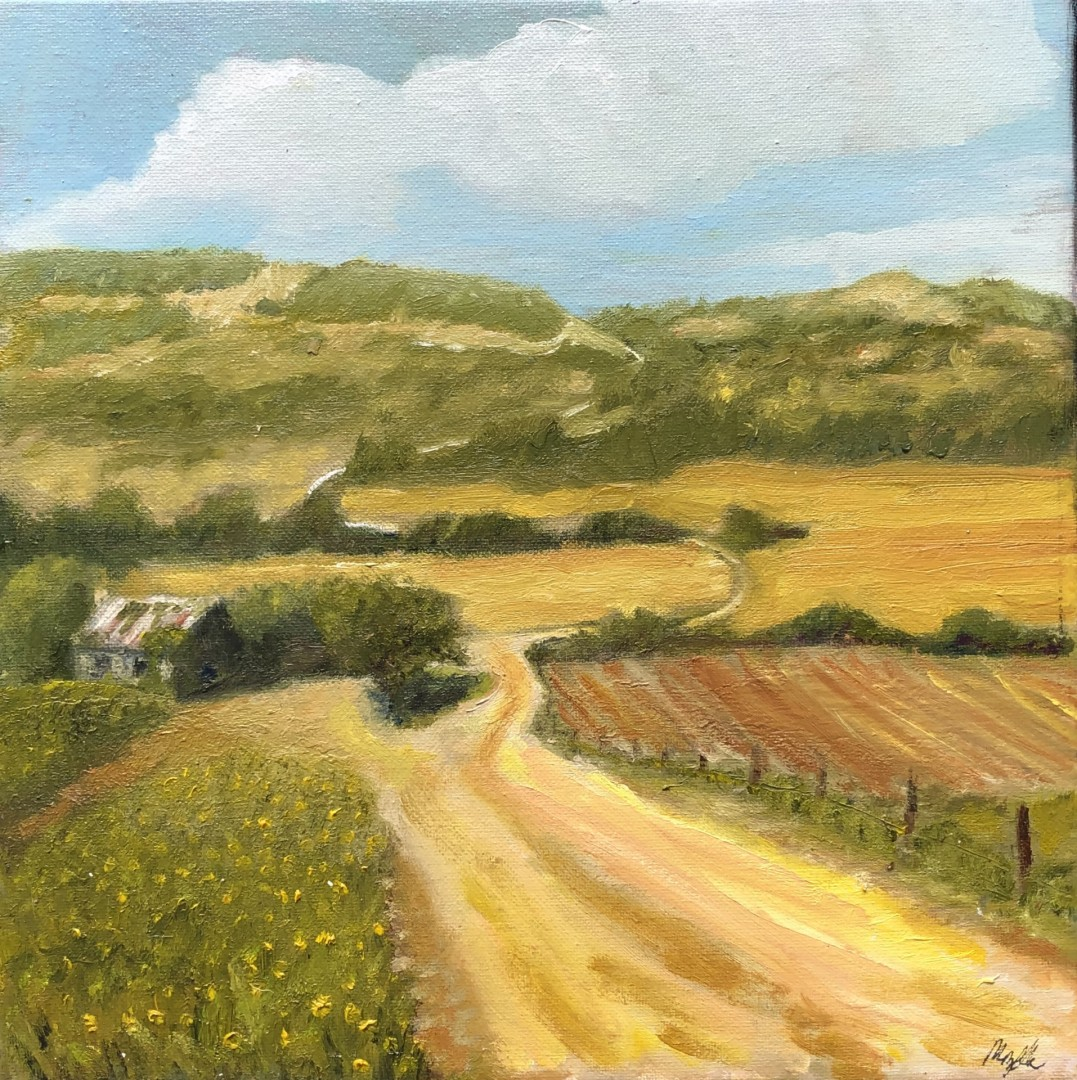 Deserted House - artwork by Mozelle Marks: oilpainting, countrylandscape, hillcountry, oldhouse, dirtroad