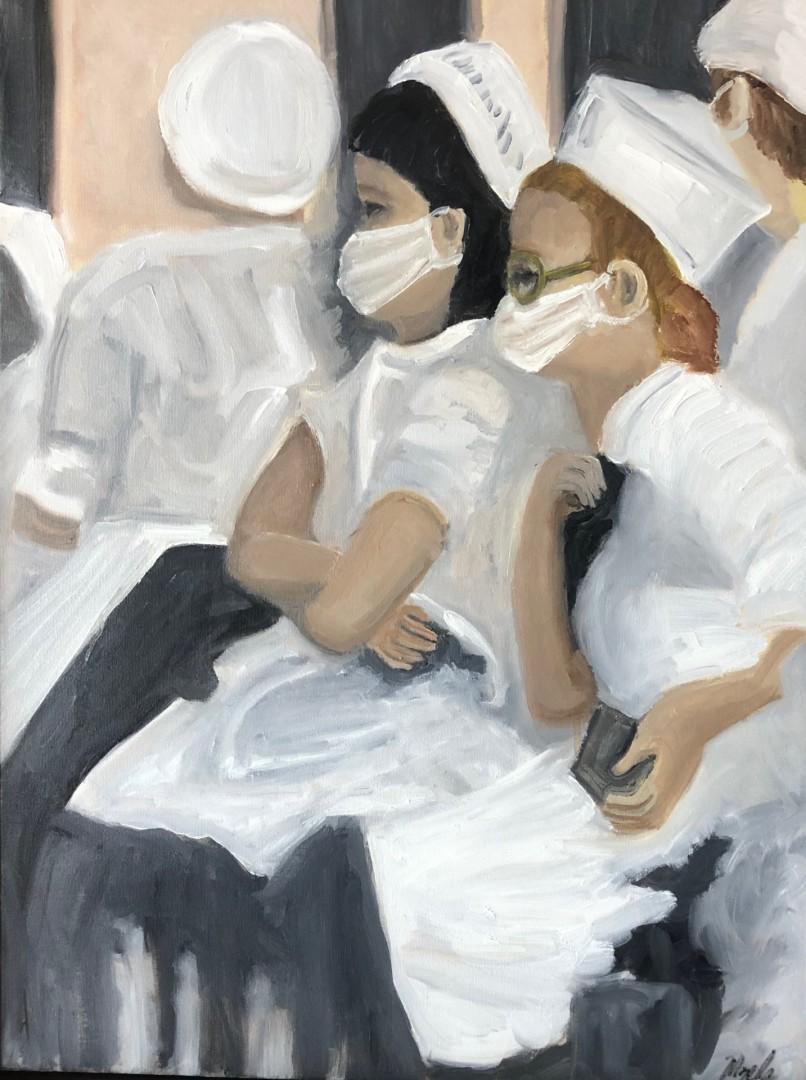 Cafe du Monde - artwork by Mozelle Marks: neworleans, waitstaff, cafe, beignets, oilpainting Figures, Impressionism, Oil, Canvas