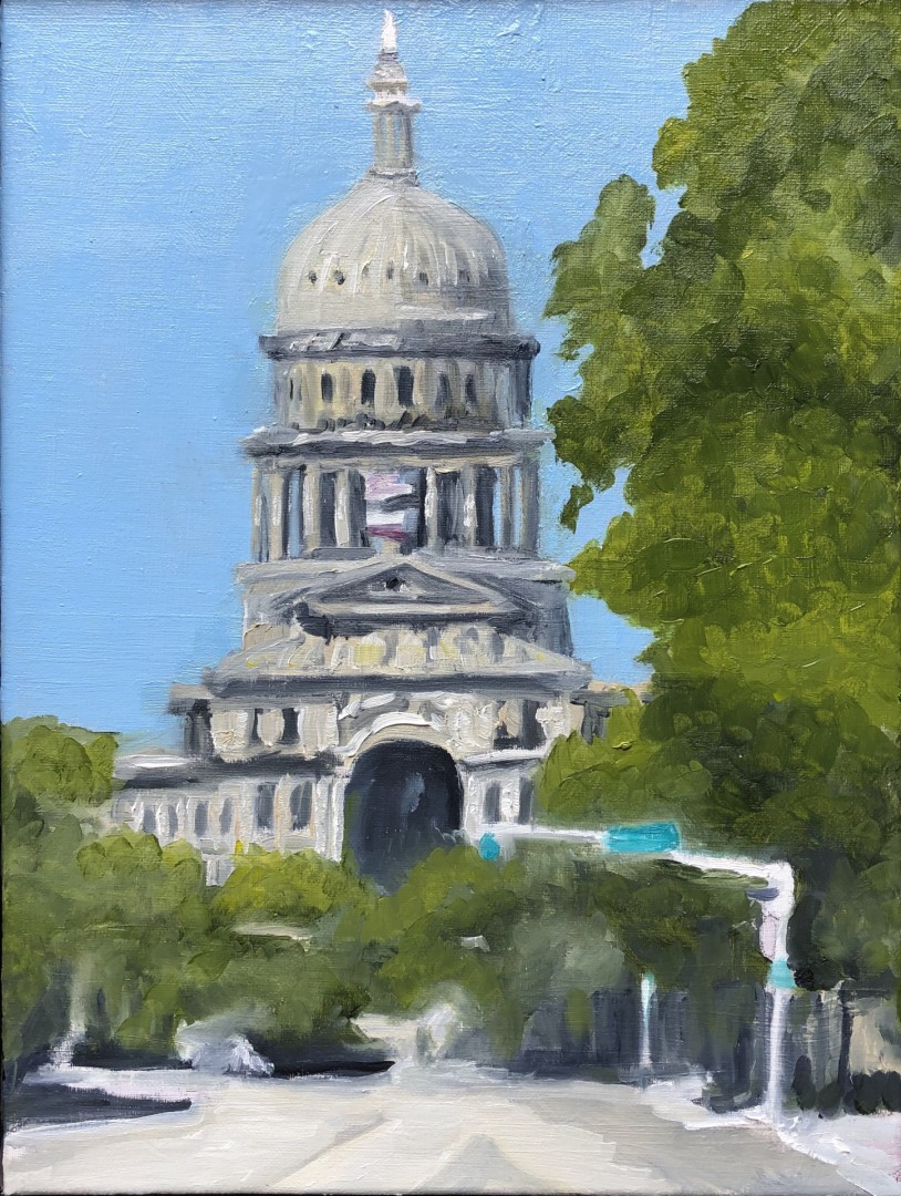 The Capitol - artwork by Mozelle Marks: oilpainting, capitol, austin, texas, architecture Architecture, Impressionism, Oil, Canvas