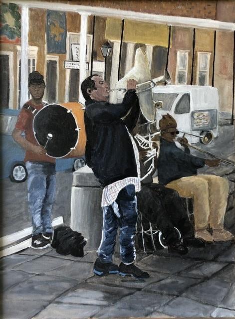 Nola Street Band - artwork by Mozelle Marks:  Figures, Impressionism, Acrylic, Canvas