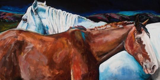 Los Ranchos Horses in Moonlight