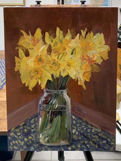 Daffodils in a Ball Jar