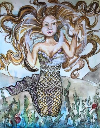 Mermaid Blowing Bubble