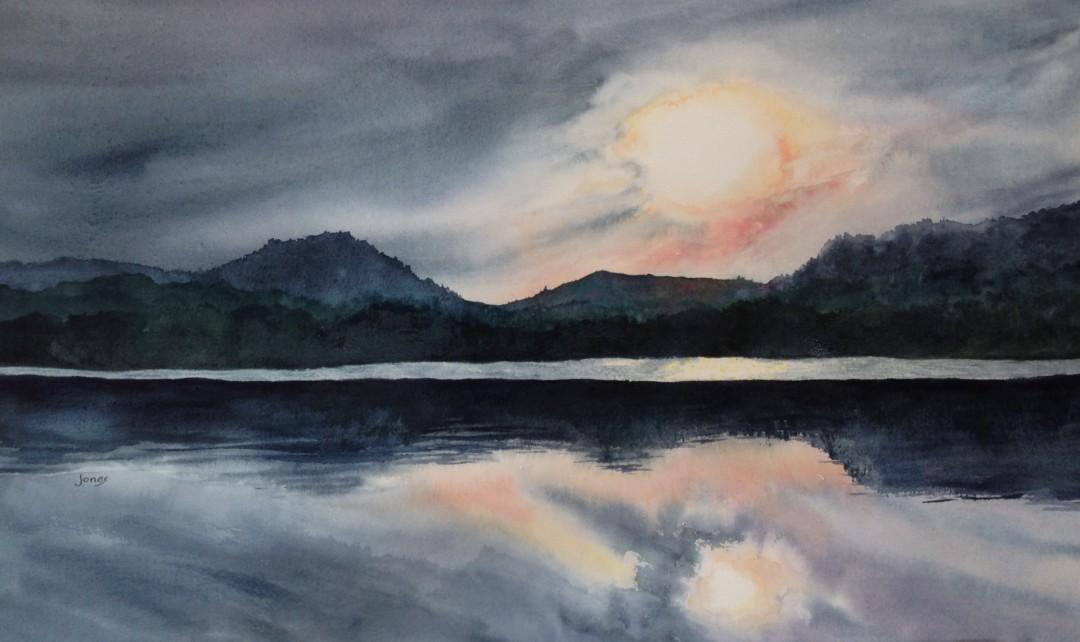 Evenfall - artwork by Ann Jones:  Landscape, Realism, Watercolor, Paper