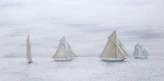 Three Burgess Sloops Racing off Marblehead