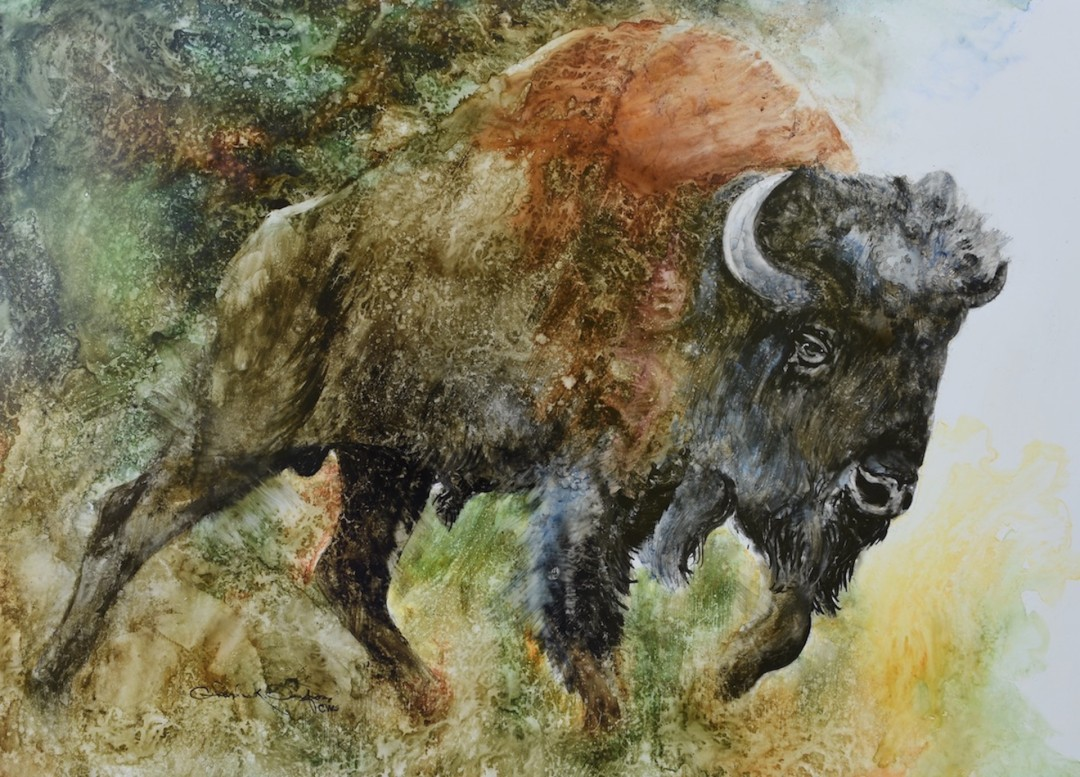 Charging - artwork by Chuck Danford:  Animals, Impressionism, Watercolor, Paper