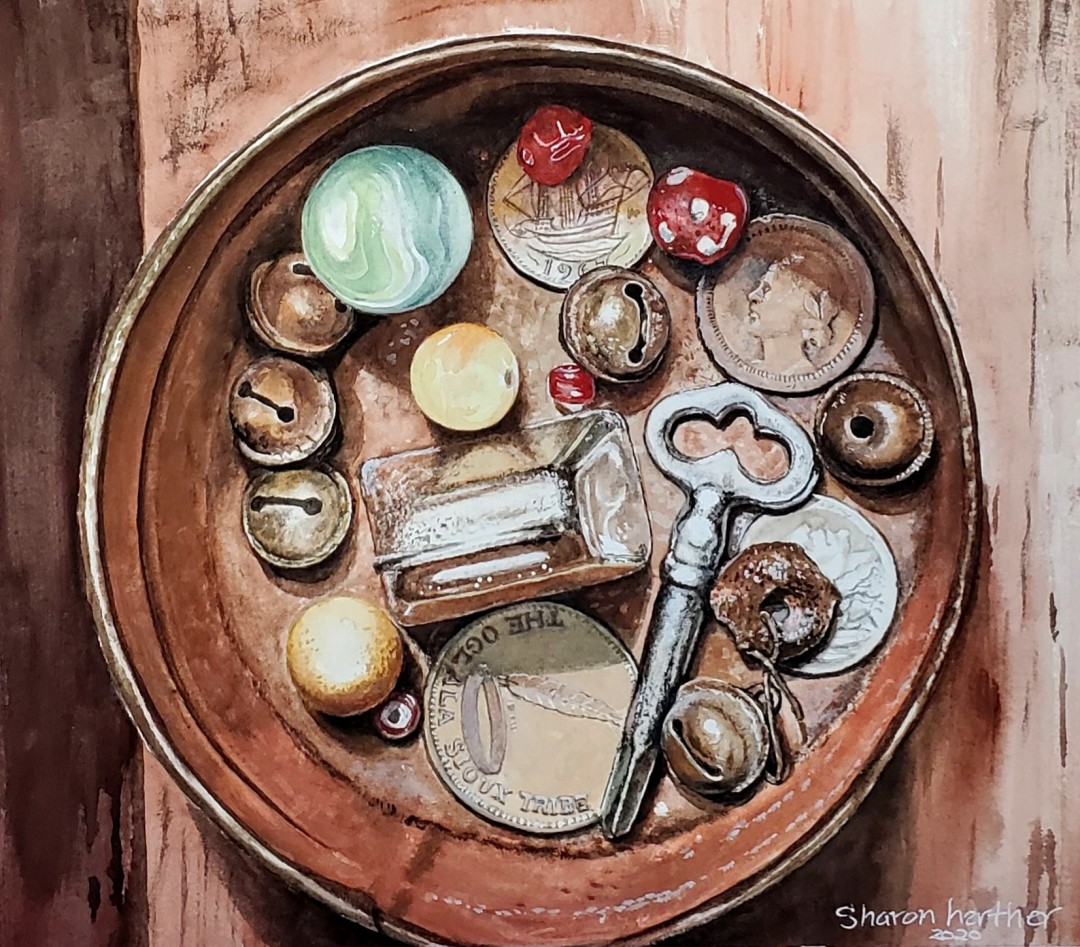 Tin Treasures - artwork by Sharon Herther:  Still Life, Realism, Watercolor, Watercolor Paper