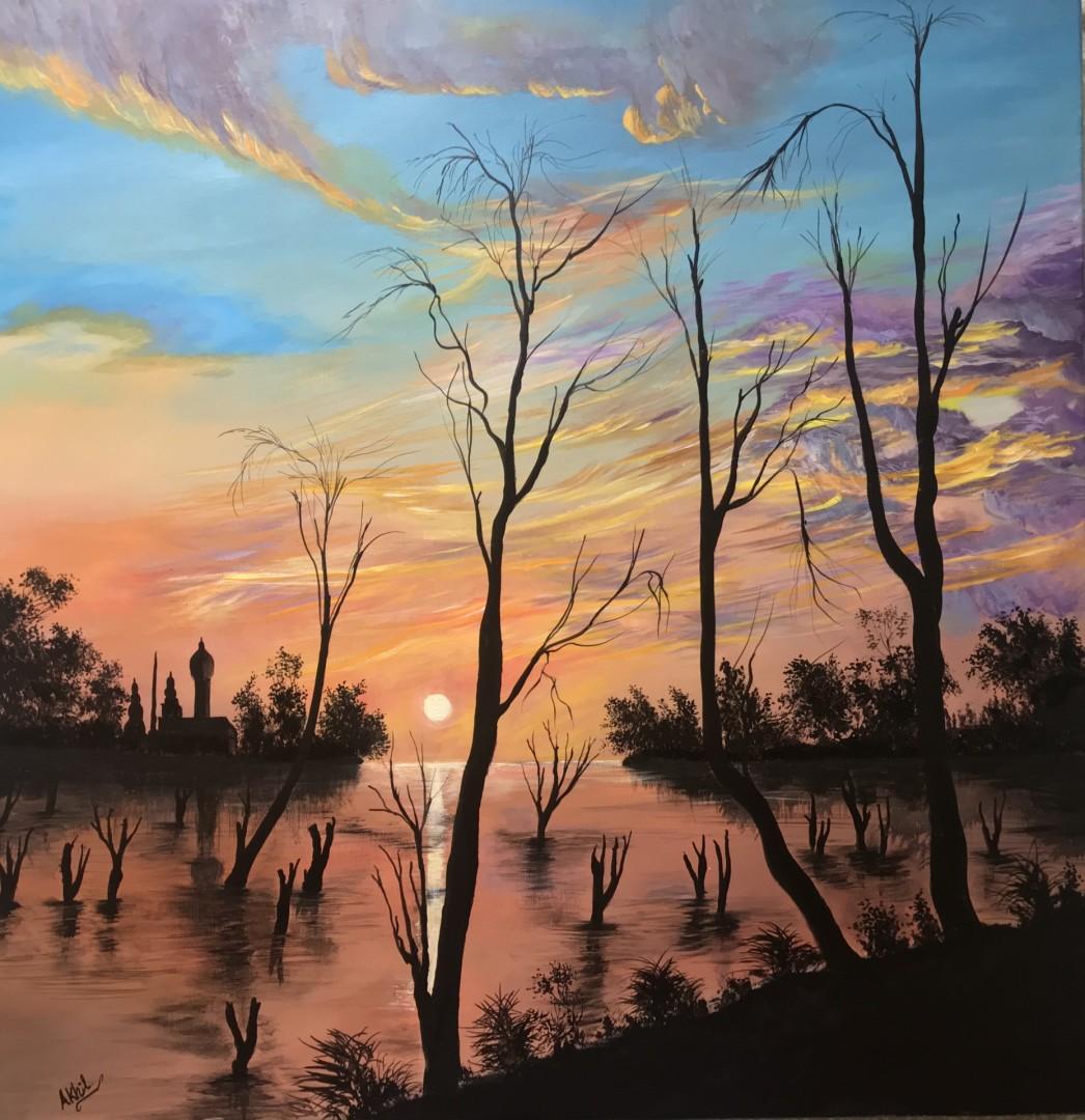 Morning Tranquility  - artwork by Akhil Kv: Acrylic painting, paintings, Painting, Canvas painting, Artworks, Art, Acrylic Art, Early morning, Sunrise painting, Morning tranquility, Acrylic on canvas, Sky colours Landscape, Realism, Acrylic, Canvas