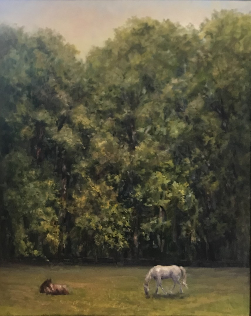 Country Comfort Farm - artwork by Mary Veiga: horses, farm, trees, country, countrycomfort, farmlife, field Landscape, Impressionism, Oil, Canvas