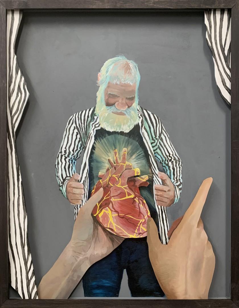 Kintzugiheart - artwork by Samuel Sander:  Figures, Modern, Oil, Wood Panel