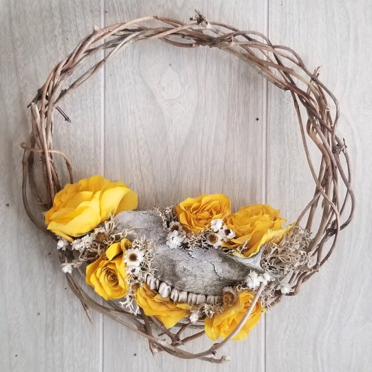 Skull Fragment and Yellow Roses