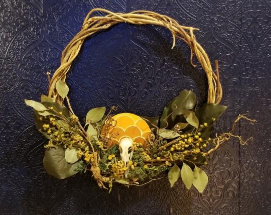 Bird Skull and Lemon Leaves