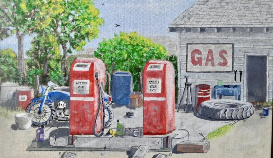 Old Gas Station on Canvas