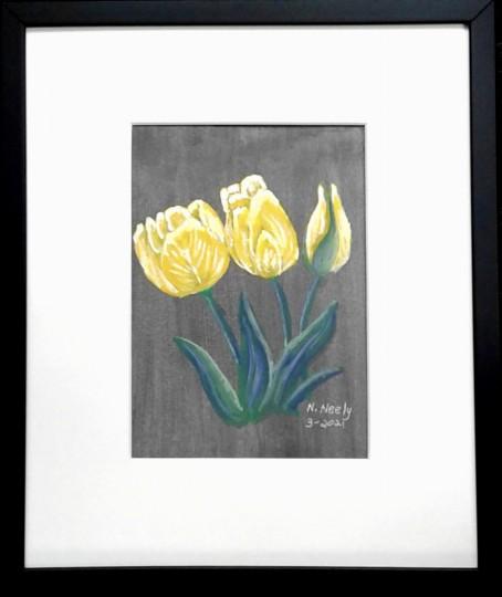 Yellow Tulips on black