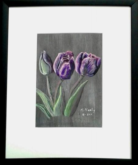 Purple Tulips on Black