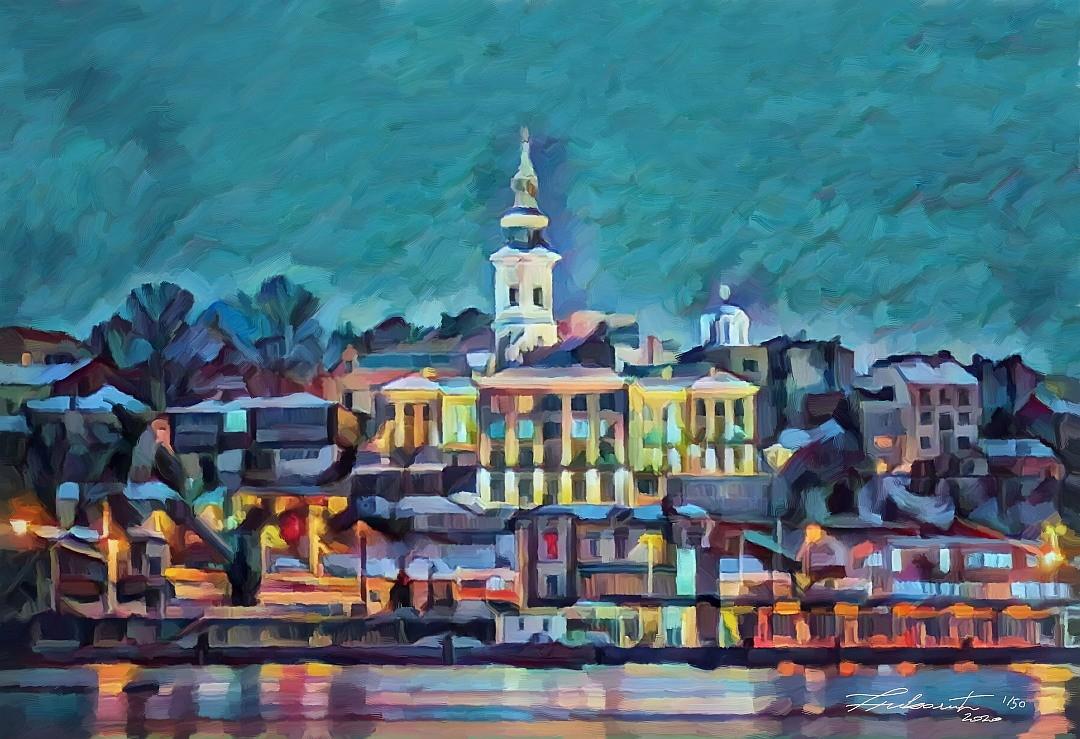 Belgrade Dream - artwork by Zoran Nikolic: Belgrade, Beograd Landscape, Impressionism, Printmaking, Canvas