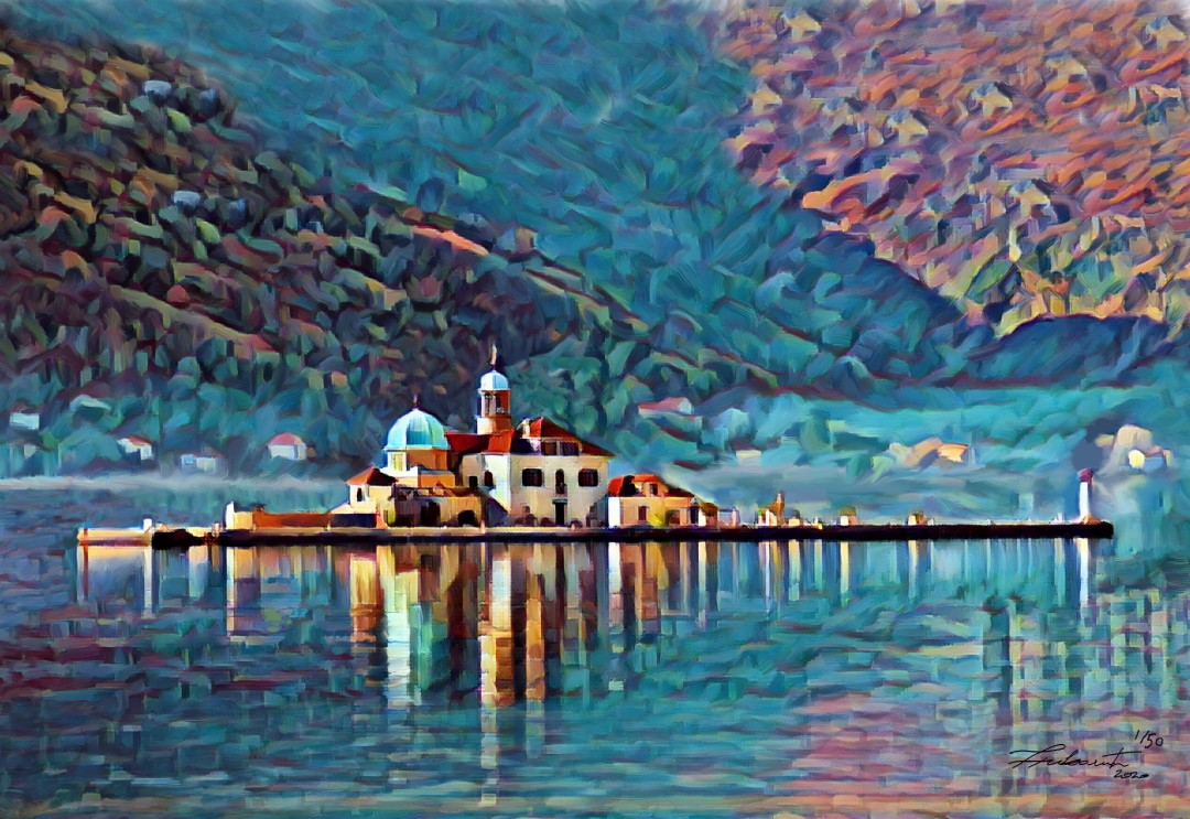 Our Lady of the Rocks - artwork by Zoran Nikolic: Perast, Gospa of Skrpjela Landscape, Impressionism, Printmaking, Canvas