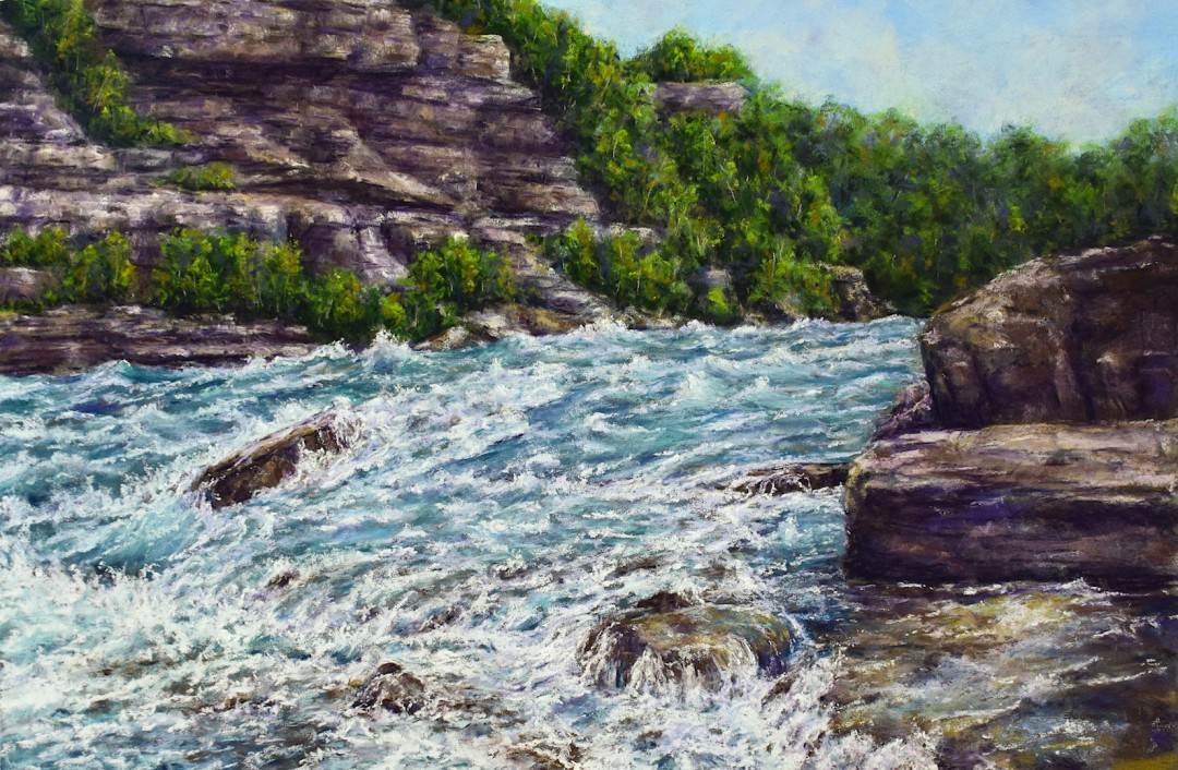 Rapids Along the Niagra niagara river pastel painting landscape painting waves whitewater rapids framed painting river