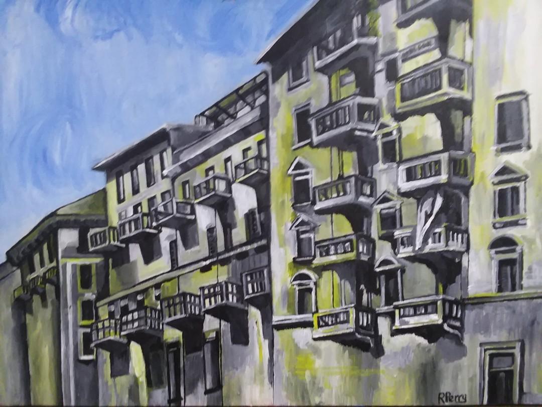 Turin - artwork by Rebecca Perry:  Landscape, Impressionism, Acrylic,
