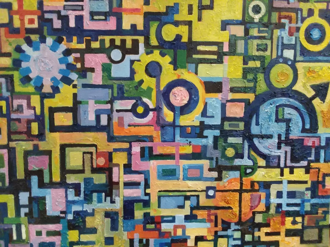 In Gear - artwork by Rebecca Perry:  Abstract, Abstract, Oil,
