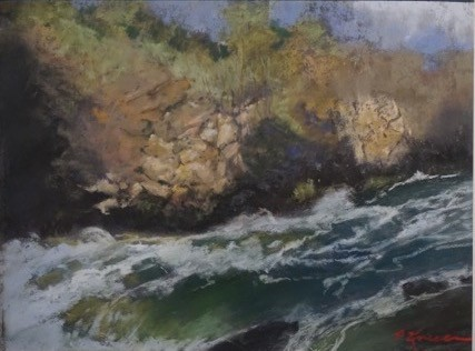 Dillon Falls Afternoon - artwork by Paul Kneece:  Landscape, Impressionism, Pastels, Pastel Sandpaper