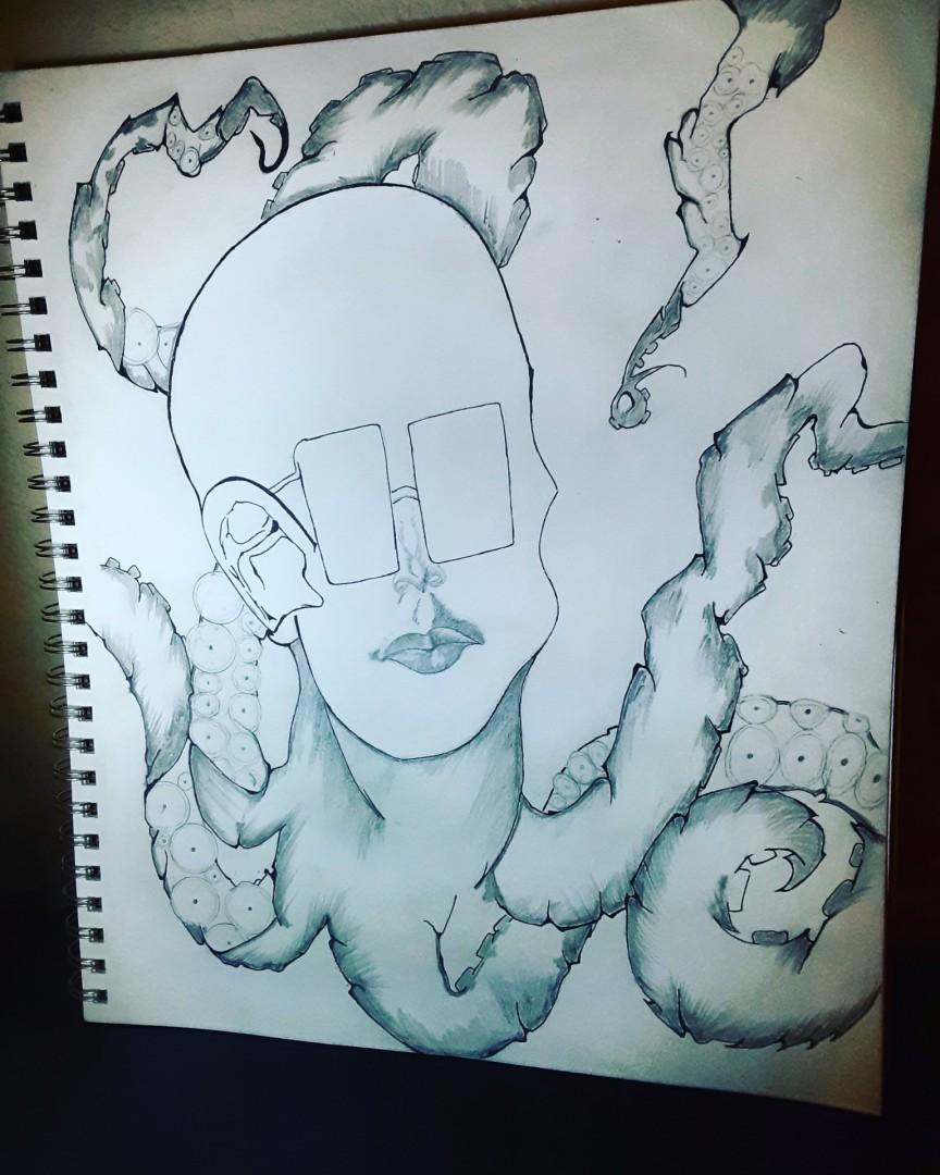 Octopus brain Octopus Face Glassess ink