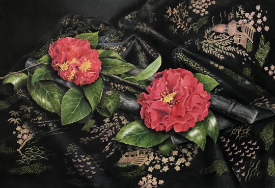Camellias on Silk