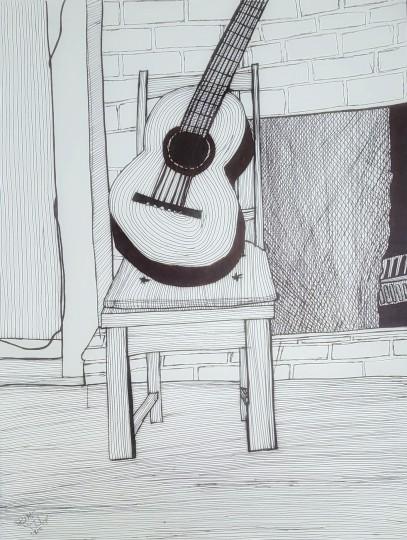 Guitar & a Fireplace