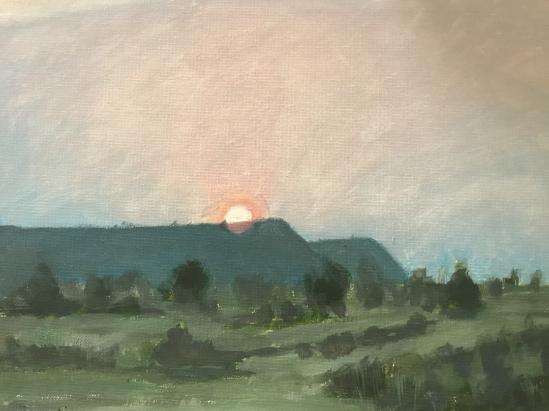 Sunset at Lake Powell Resort - artwork by Vasanti Deshpande: Lake Powell, Resort, Sunset Landscape, Realism, Oil, Canvas