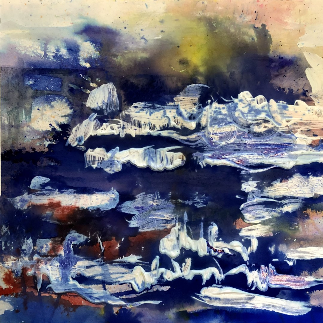 Fjord - artwork by barbara Marder:  Abstract, Expressionism, Watercolor, Watercolor Paper