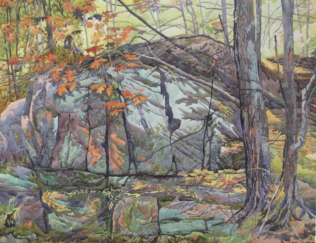 Blue Rock - artwork by Lin Souliere:  Landscape,