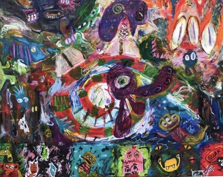 Tsunami - artwork by Sofia Garza:  Animals, Abstract, Acrylic, Wood Panel
