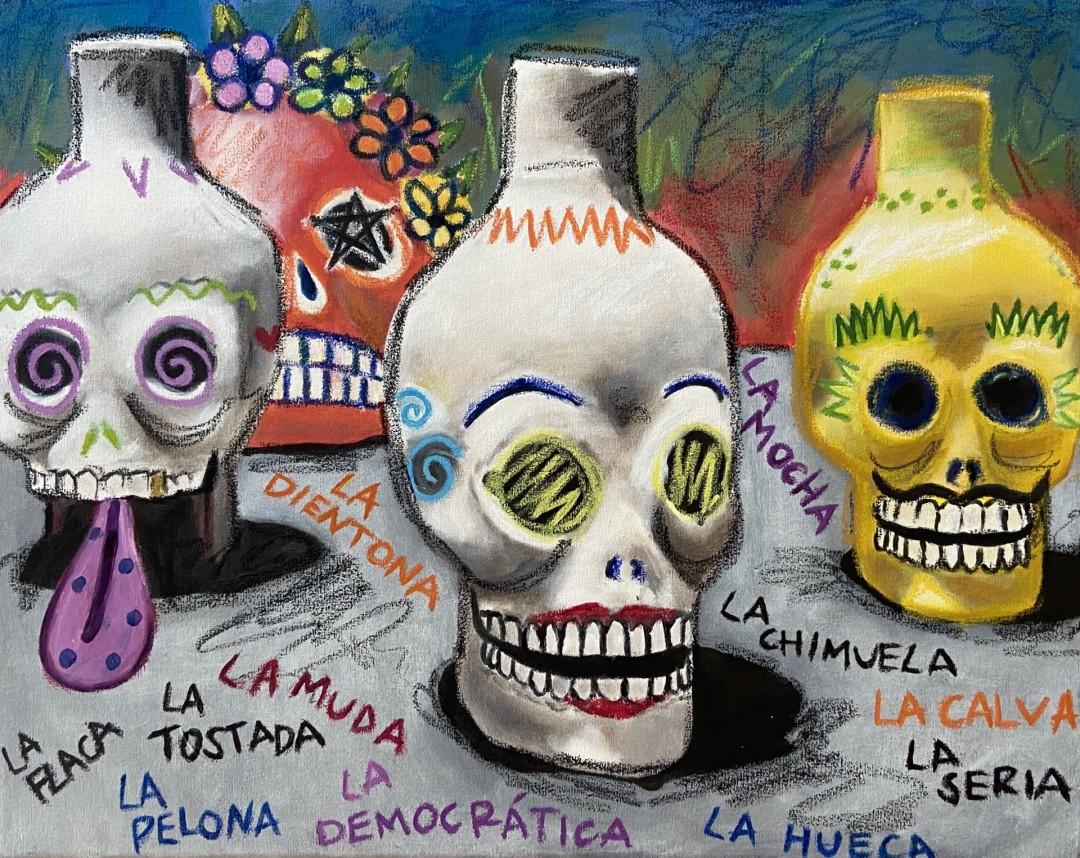 La Flaca - artwork by Sofia Garza:  Still Life, Modern, Oil,