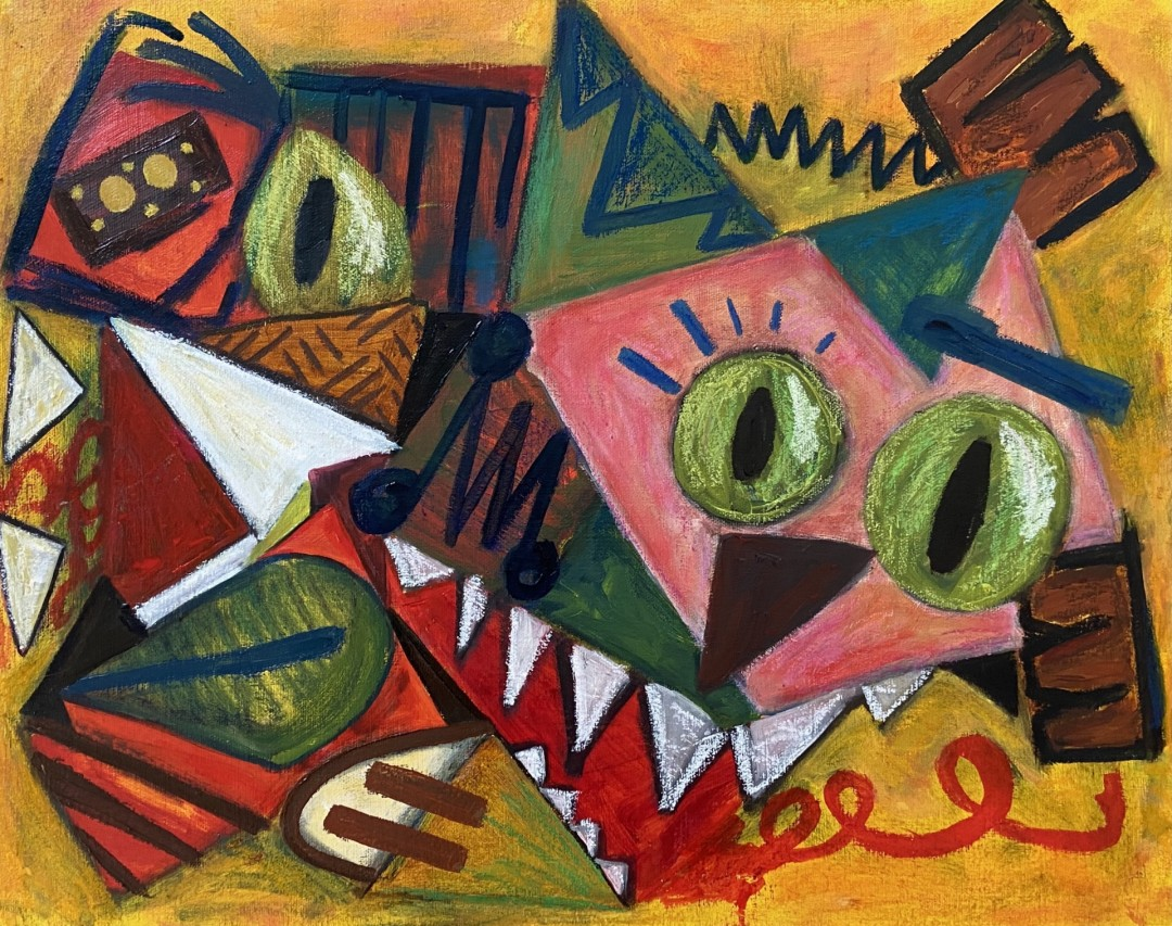 Me-ow - artwork by Sofia Garza:  Animals, Abstract, Oil,