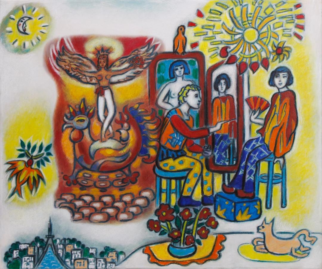 Chagall painting Bella - artwork by Katherine Arion:  Figures, Other, Mixed Media, Canvas (stretched)