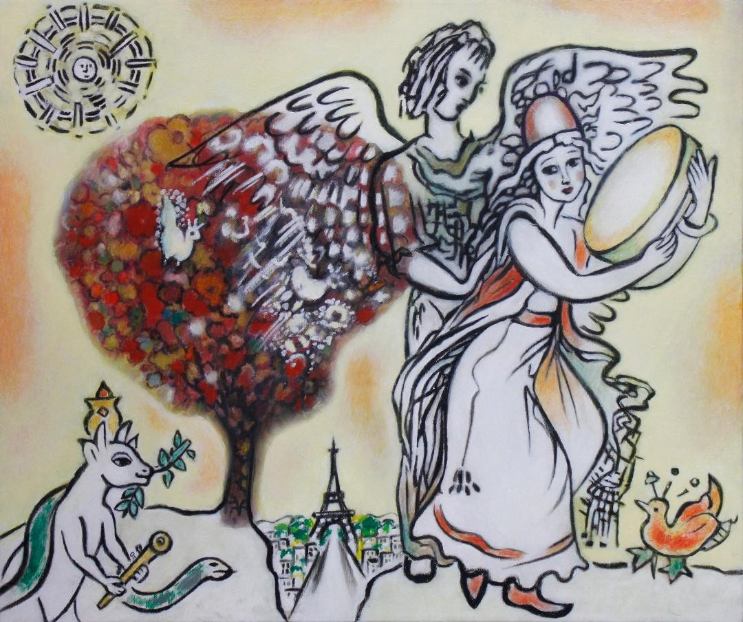 The Angel's Touch - artwork by Katherine Arion:  Figures, Other, Mixed Media, Canvas
