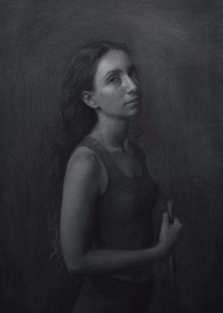 Selfie - artwork by miriam baranov:  Figures, Classical, Charcoal, Paper