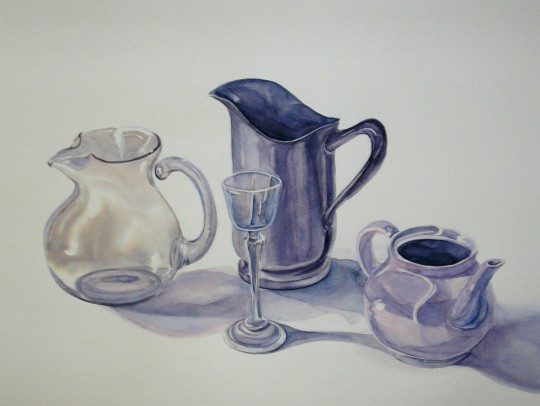 Watercolor Study with Pitchers
