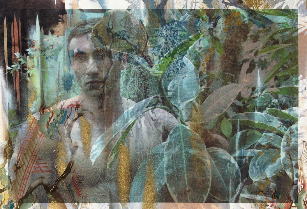 Artwork – Michel in Monet's greenhouse Giverny (on distressed bonsai toile), 2014