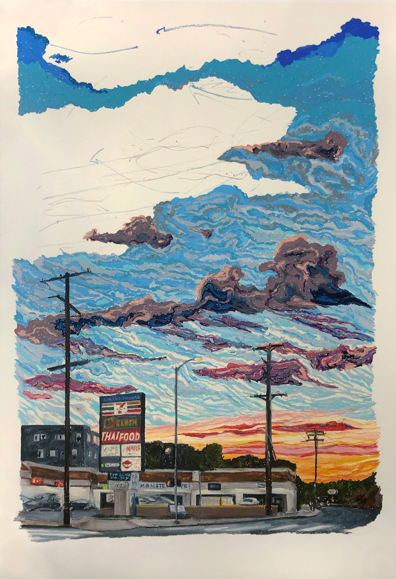 Artwork – Ivan Rios-Fetchko,  When I Think of America, I Think of Sunsets (Even the Best Laid Plans.../You Can Plan a Pretty Picnic, but You Can't Predict the Weather), 2020