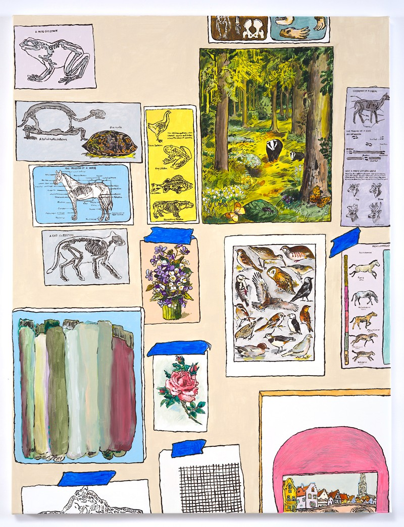 Artwork – Studio Wall with Forest, Charts, Skeletons, Florals, and Birds, 2020