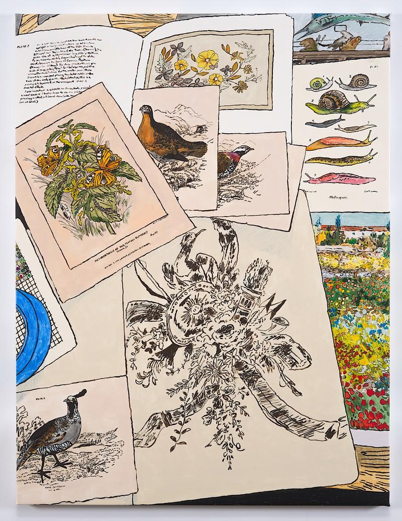 Artwork – Studio Floor with Butterflies, Snails, Birds, Flowers, Drawing and Van Gogh, 2020