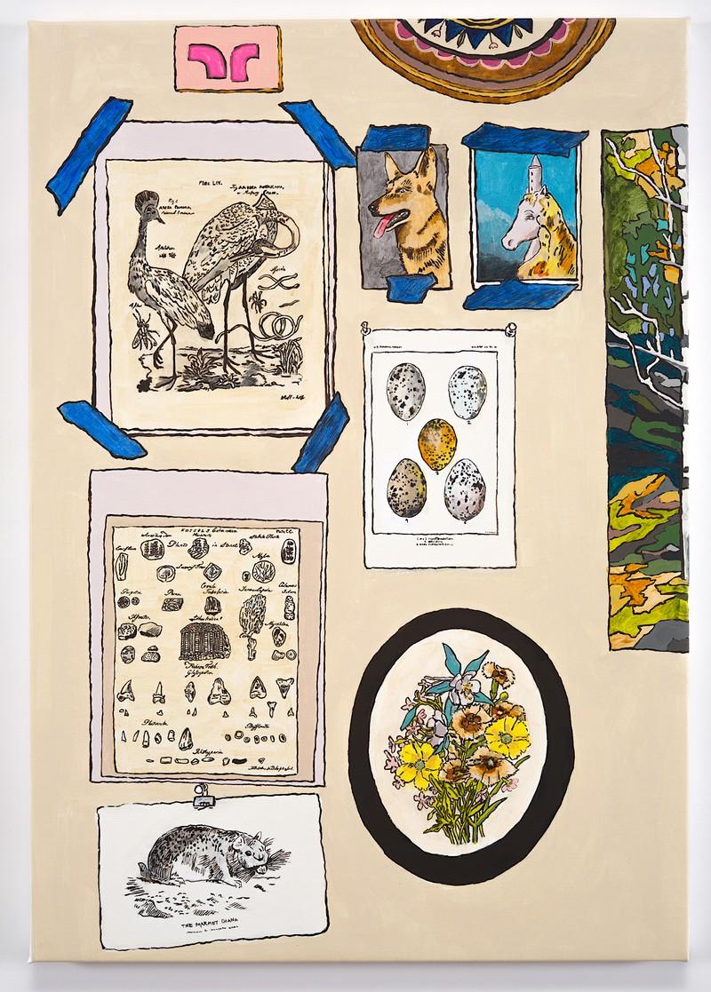 Artwork – Studio Wall with Unicorn, Dog, Flowers, Birds, Eggs, Fossils and Marmot, 2020