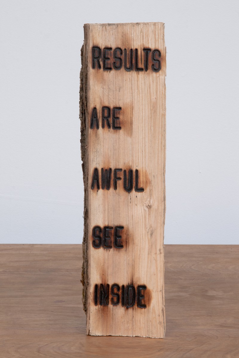 """Artwork – Branding Project #4:  I swear somewhere the truth lies within this wood - """"RESULTS ARE AWFUL SEE INSIDE"""", 2012"""