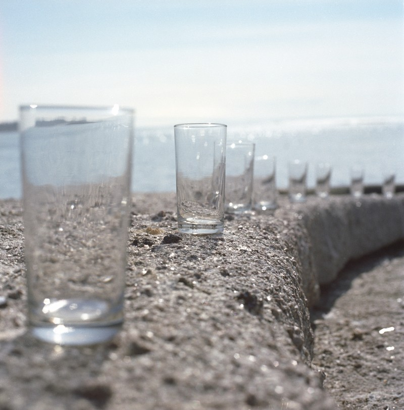 Artwork – Eight Glasses (Rain Water Collection on Nothingness), 2002