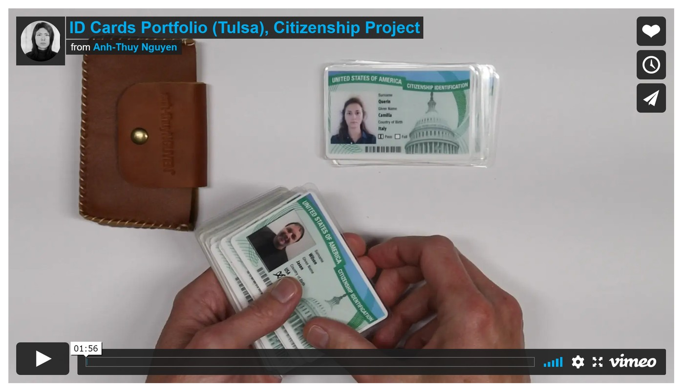 Artwork – Anh-Thuy Nguyen in collaboration with Craig Baron, ID Cards (Tulsa, Part II) from Citizenship Project, 2016