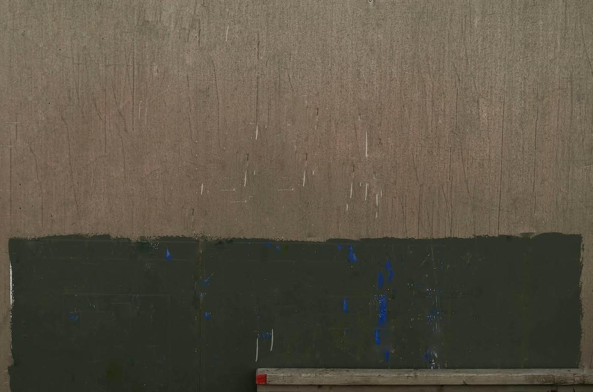 Artwork – Composition in Green & Grey, w/ Red Square (Hafnarfjordur), 2015